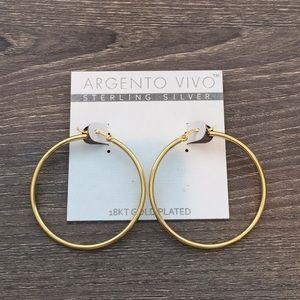 Argento Vivo 18kt Gold Plated Hoop Earrings
